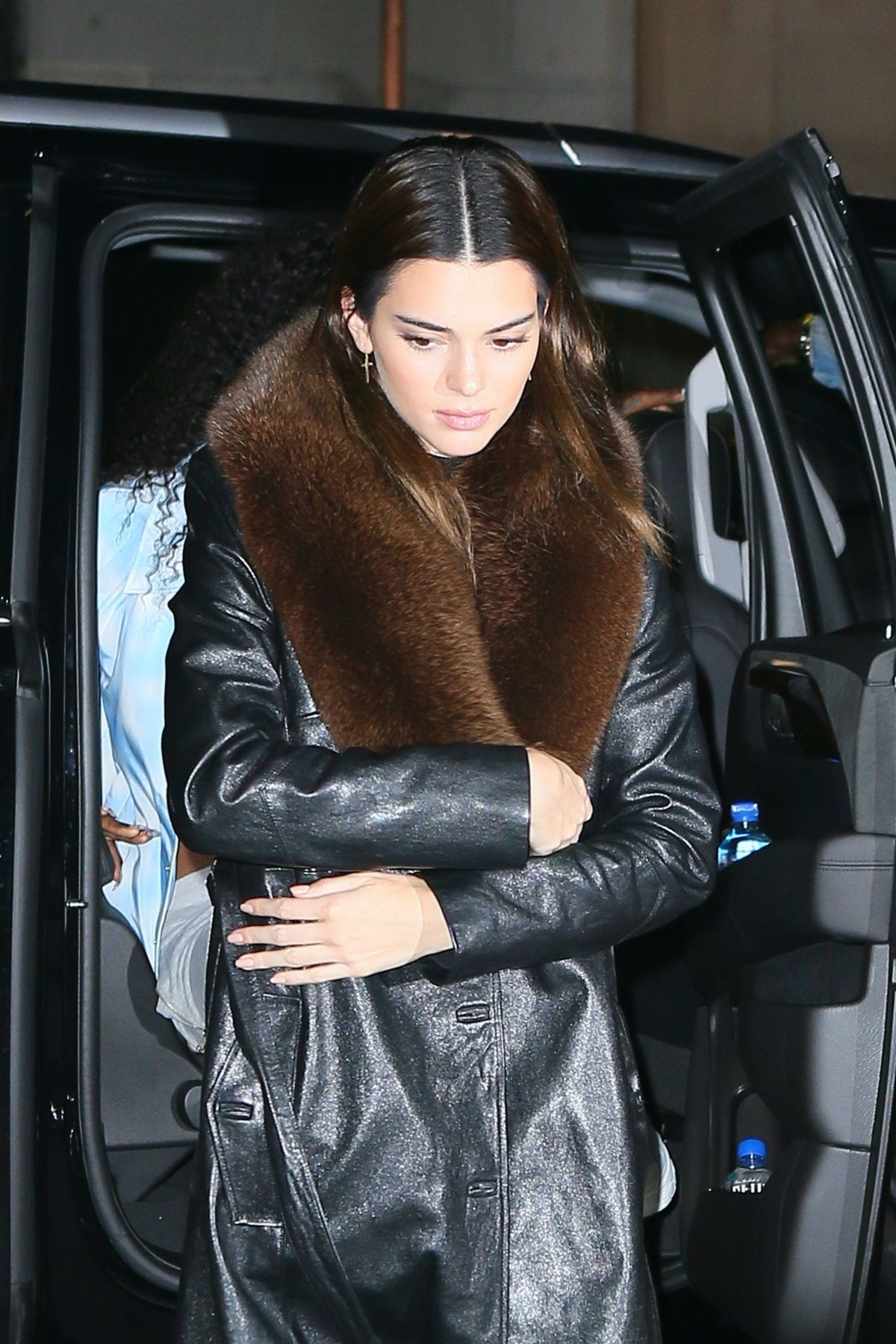 Kendall Jenner in a Black Spandex Shorts Brings Her Dog at